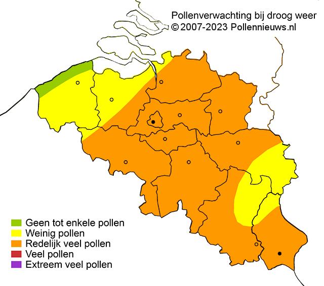 Onafhankelijke biologen verzorgen dagelijks een pollenkaartje van Nederland en België met de verwachting van de pollenverdeling in de lucht bij droog weer. De polleninformatie op het pollenkaartje wordt dagelijks rond 7:00 uur door Pollennieuws gemaakt. De contourlijnen op het kaartje zijn samengesteld op basis van de samengevoegde interpretaties van eigen waarnemingen betreffende pollen en pollenplanten, meetwaarden en waarnemingen van weersinformatie, pollenverwachtingen en pollentellingen. Deze gegevens worden aangevuld met klachtenmeldingen van de Pollennieuws apps. Voor de Nederlandse website zie: www.pollennieuws.nl.